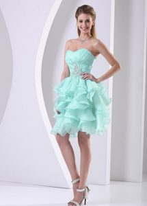 Beautiful Sweetheart Ruched Apple Green Pageant Dresses with Ruffles