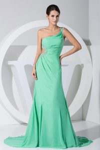 One Shoulder Apple Green Chiffon Discount Pageant Dresses with Beading