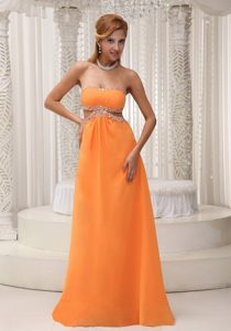 Orange Empire Beaded Chiffon Pretty Interview Pageant Suits in Floor-length