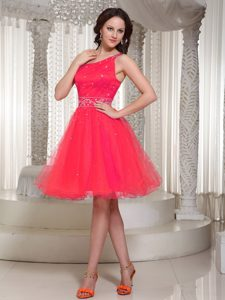 Organza Fuchsia Pageant Dresses with One Shoulder and Beading on Sale