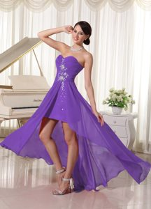Purple Beaded Sweetheart Pageant Girl Dress with Ruching and Beading