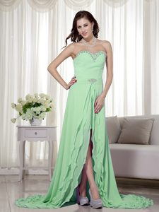 High Low Chiffon Low Price Pageant Dresses for Miss World in Light Green