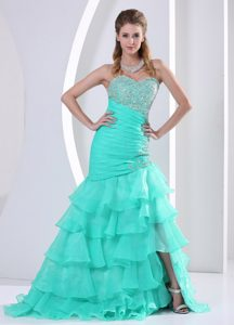 Ruched Sweetheart Glitz Pageant Dresses with Ruffled Layers in Aqua Blue