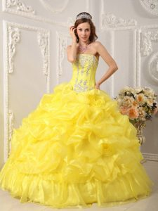 Yellow Strapless Organza Beaded Pageant Dress for Girls with Pick-ups on Sale