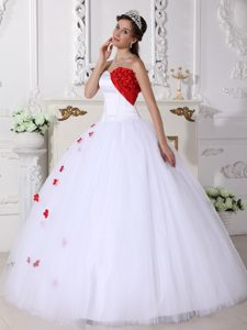 White and Red Sweetheart Satin and Tulle Pageant Dress with Appliques in 2015