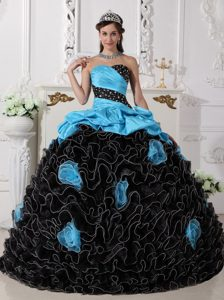 Blue and Black Sweetheart Organza Beaded Pageant Dress with Rolling Flowers
