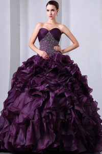 Purple Sweetheart Organza Beaded and Ruffled Pageant Dress with Brush Train