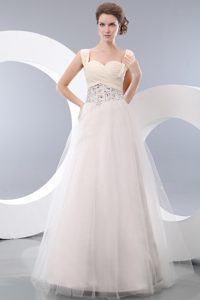Beautiful White A-line Straps Tulle Beaded Pageant Dress with Ruching on Sale