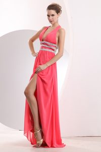 Watermelon Red Halter Top Chiffon Beaded Empire Pageant Dress with High Slit