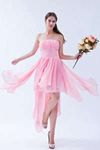 Pink Empire Strapless Asymmetrical Chiffon Beaded and Ruched Pageant Dress