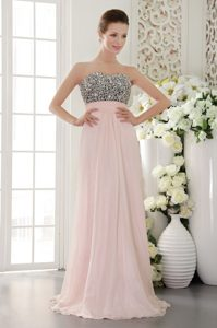Light Pink Empire Sweetheart Chiffon Beaded Pageant Dress on Wholesale Price