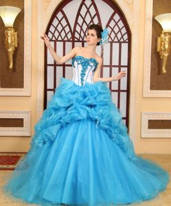 Aqua Blue Sweetheart Girl Pageant Dress in Organza with Appliques and Pick-ups