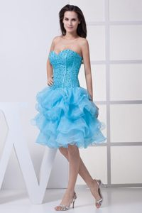 Glitz Beaded Aqua Blue Pageant Dresses Patterns with Ruffled Layers in Organza