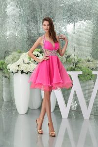 Mini-length Halter Top Girl Pageant Dress in Hot Pink with Beadings and Cutouts