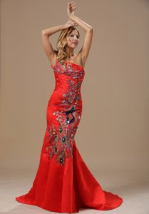 Discount Mermaid Red Embroidery and One Shoulder Girl Pageant Dress
