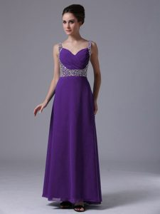 Hot Beaded Straps Chiffon Pageant Dresses for Miss USA in Dark Purple