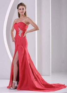 High Slit Red Sweetheart Beauty Pageant Dress with Appliques and Ruche