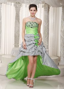 Spring Green A-line Strapless Elegant Taffeta Pageant Dress with Beading