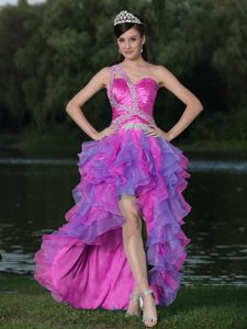 High Low Muti-Color Sweet Beaded Natural Pageants Dresses with Ruffles