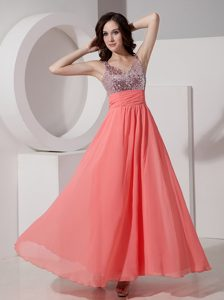 Watermelon Empire Straps Chiffon Discount Pageant Dresses with Beading