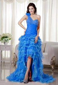 Aqua Blue A-line One Shoulder Prom Pageant Dress for Miss World on Sale