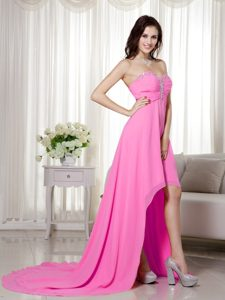 Hot Pink Empire Sweetheart High Low Pageant Dresses for Wholesale Price