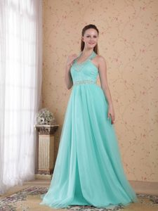 Sweet Light Blue Empire Halter Top Tulle Pageant Dresses with Beading