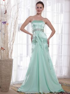 Inexpensive Column Chiffon and Satin Pageant Dresses in Apple Green