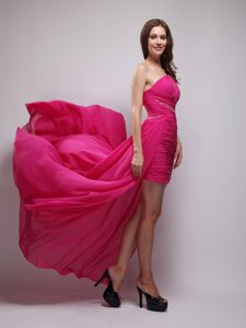 Hot Pink Asymmetrical Low Price Pageant Dress for Miss World in Chiffon