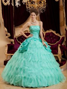Apple Green Ball Gown Strapless Pageant Dresses with Ruffles on Sale