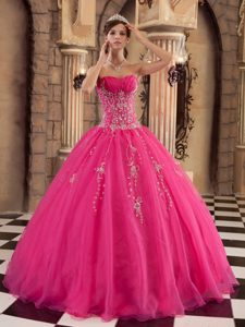 Custom Made Hot Pink Ball Gown Organza Pageant Dresses with Beading