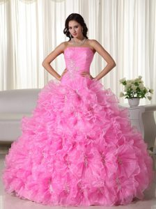 Rose Pink Strapless Organza Beaded Beauty Pageant Dress with Appliques