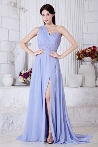 Lilac One Shoulder Watteau Train Beaded Prom Pageant Dresses in Chiffon