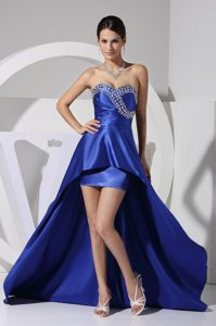 Royal Blue Beaded and Sequined Asymmetrical Sweetheart Pageant Dress