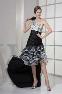 High Low Beaded Glitz Pageant Dresses Handle Flower and Ruffled Layers