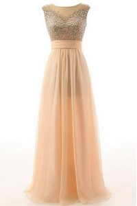 Scoop Peach Empire Beading and Belt Glitz Pageant Dress Backless Organza Sleeveless Floor Length