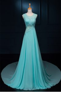 Decent Scoop With Train Zipper Pageant Dresses Baby Blue for Prom and Party with Beading and Appliques Brush Train