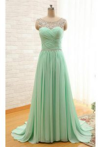 Excellent Scoop Beading and Ruching Pageant Dress for Girls Apple Green Zipper Sleeveless With Brush Train