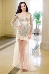 Long Sleeves Zipper Floor Length Beading Pageant Dress for Teens