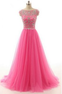 Lace Hot Pink Custom Made Pageant Dress Prom and Party with Beading Bateau Short Sleeves Zipper