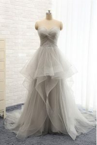 Vintage Sleeveless With Train Ruching Lace Up Pageant Dress for Teens with Silver Brush Train