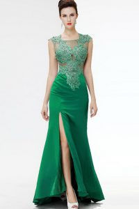 Sweep Train A-line Evening Gowns Dark Green Square Satin Sleeveless Floor Length Zipper