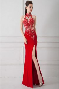 Red High-neck Zipper Beading and Appliques Glitz Pageant Dress Sleeveless
