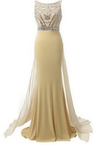 Gorgeous Scoop Champagne Sleeveless Satin Brush Train Side Zipper Pageant Dress Wholesale for Prom and Party