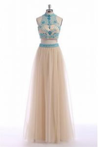 Sleeveless Zipper Floor Length Beading and Appliques and Belt Winning Pageant Gowns
