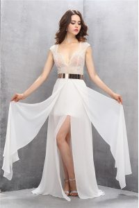 High Class Tulle Sleeveless Custom Made Pageant Dress Sweep Train and Lace and Belt
