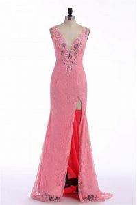 Lace and Appliques Pageant Dress Womens Rose Pink Backless Sleeveless Sweep Train