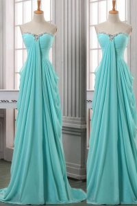 Extravagant Ruching Pageant Dress for Teens Turquoise Zipper Sleeveless With Brush Train