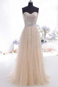 Champagne Zipper Sweetheart Beading and Belt Pageant Gowns Organza Sleeveless Sweep Train