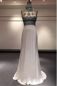 White Sleeveless With Train Beading Zipper Pageant Dress Wholesale